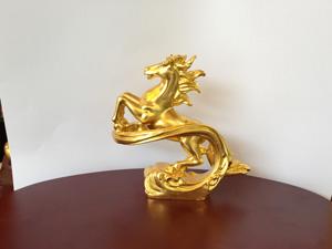 Tượng đồng Ngựa vờn mây dát vàng cao 10cm - Q0572
