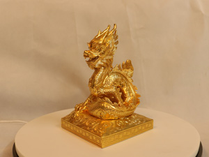 Tượng đồng con Rồng dát vàng 20cm - Q0151