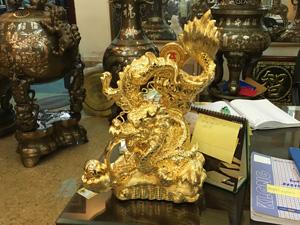 Tượng đồng con Rồng hý ngọc bằng mạ vàng 24k cao 50cm - Q0380