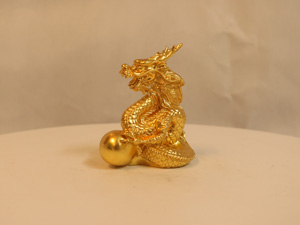 Tượng đồng con Rồng dát vàng 8cm - Q0119