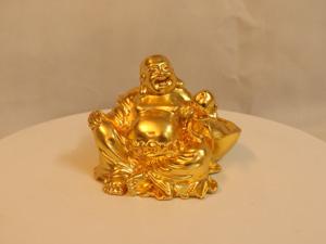 Tượng đồng Phật Di Lặc cầm đào dát vàng 14cm - Q0116