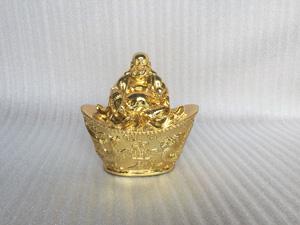 Tượng đồng Di Lặc ngồi đĩnh bạc cao 18cm - Q0271