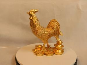 Tượng đồng con Gà dát vàng cao 25cm - Q0157