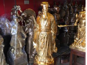 Tượng đồng Khổng Minh cao 70cm dát vàng 9999 - Q0518
