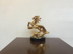 Tượng đồng Ngựa vờn mây mạ vàng cao 10cm - Q0425