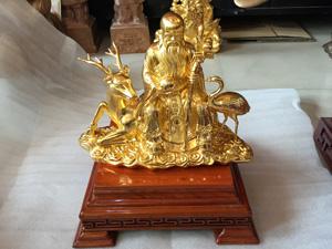 Tượng đồng ông Thọ ngồi hươu 30cm dát vàng 9999 - Q0559