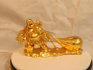 Tượng đồng Phật Di Lặc kéo bị dát vàng dài 30cm - Q0173