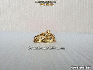 Tượng Đồng Phật Di Lặc Mạ Vàng Ngồi Dựa Bao Tiền 9cm