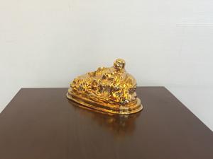 Tượng đồng Phật Di Lặc nằm mạ vàng 24k cỡ 10cm - Q0426