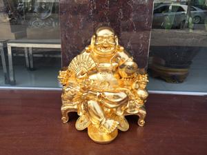 Tượng Di Lặc ngồi ngai bằng đồng thếp vàng 9999 - Q0633