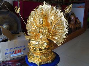 Tượng đồng Phật Quan Âm nghìn mắt nghìn tay mạ vàng 55cm - Q0312