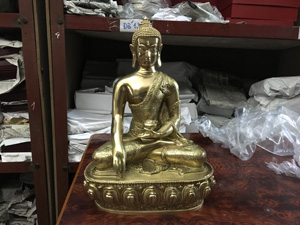 Tượng đồng Phật Thích Ca Mâu Ni cao 36cm - Q0349