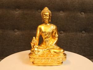Tượng đồng Phật Thích Ca dát vàng 20cm - Q0253