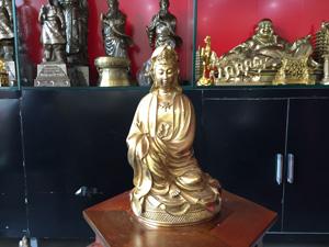 Tượng đồng Phật Quan Âm ngồi bệ cỏ 30cm - Q0553