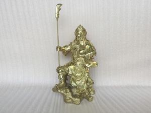 Tượng đồng Quan Công đứng chống đao 48cm - Q0281