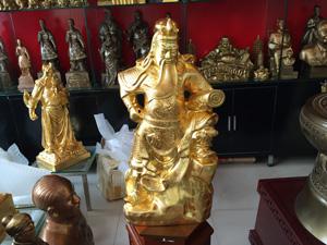 Tượng Quan Công cầm cuốn thư cao 75cm dát vàng - Q0531