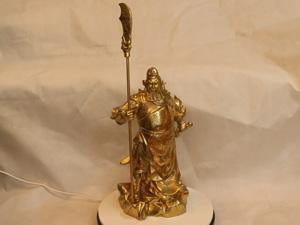 Tượng đồng Quan Công chống đao 42cm - Q0214