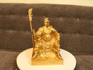 Tượng đồng Quan Công ngồi đọc sách 23cm - Q0247