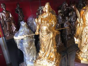 Tượng đồng Quan Công dáng đứng cao 70cm thếp vàng - Q0517