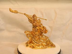 Tượng đồng Quan Công múa đao cao 25cm mạ vàng - Q0198