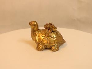 Tượng đồng Rùa cõng sách 9cm - Q0129