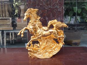 Tượng đồng Song Mã dát vàng 42cm - Q0652