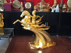 Tượng đồng Thánh Gióng đúc thủ công cao 63cm dát vàng - Q0611