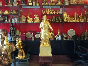 Tượng đồng Trần Quốc Tuấn cao 90cm thếp vàng - Q0612