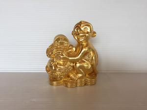 Tượng đồng Khỉ ôm bịch tiền 13cm - Q0692