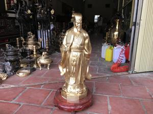 Tượng Khổng Minh bằng đồng vàng cao 70cm - Q0377