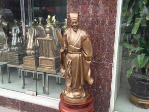 Tượng Khổng Minh đồng đỏ hun 70cm - Q0659