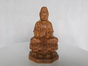 Tượng Phật Bà Quan Âm gỗ ngọc am 15cm x 9cm x 9cm