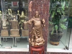 Tượng Quan Công chống đao đồng đỏ hun 70cm - Q0658