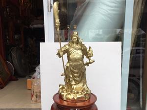 Tượng Quan Công chống đao đồng vỏ đạn 42cm - Q0639