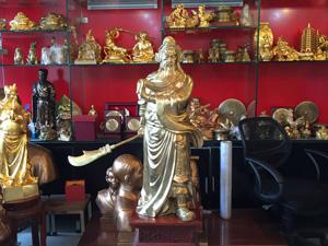 Tượng Quan Công đồng vàng cao 81cm - Q0617