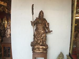 Tượng Quan Công đứng chống đao bằng đồng đỏ 75cm - Q0458