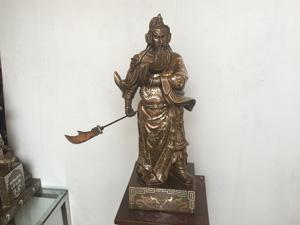 Tượng đồng Quan Vân Trường khảm bạc 55cm - Q0454