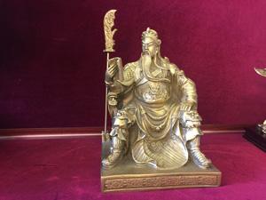 Tượng Quan Vũ ngồi đọc sách 23cm - Q0310