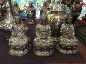Tượng Tam Thế Phật ngồi bằng đồng khảm ngũ sắc - Q0520