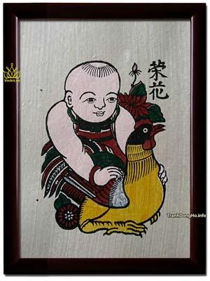 Tranh Đông Hồ Vinh Hoa - Em Bé Ôm Gà