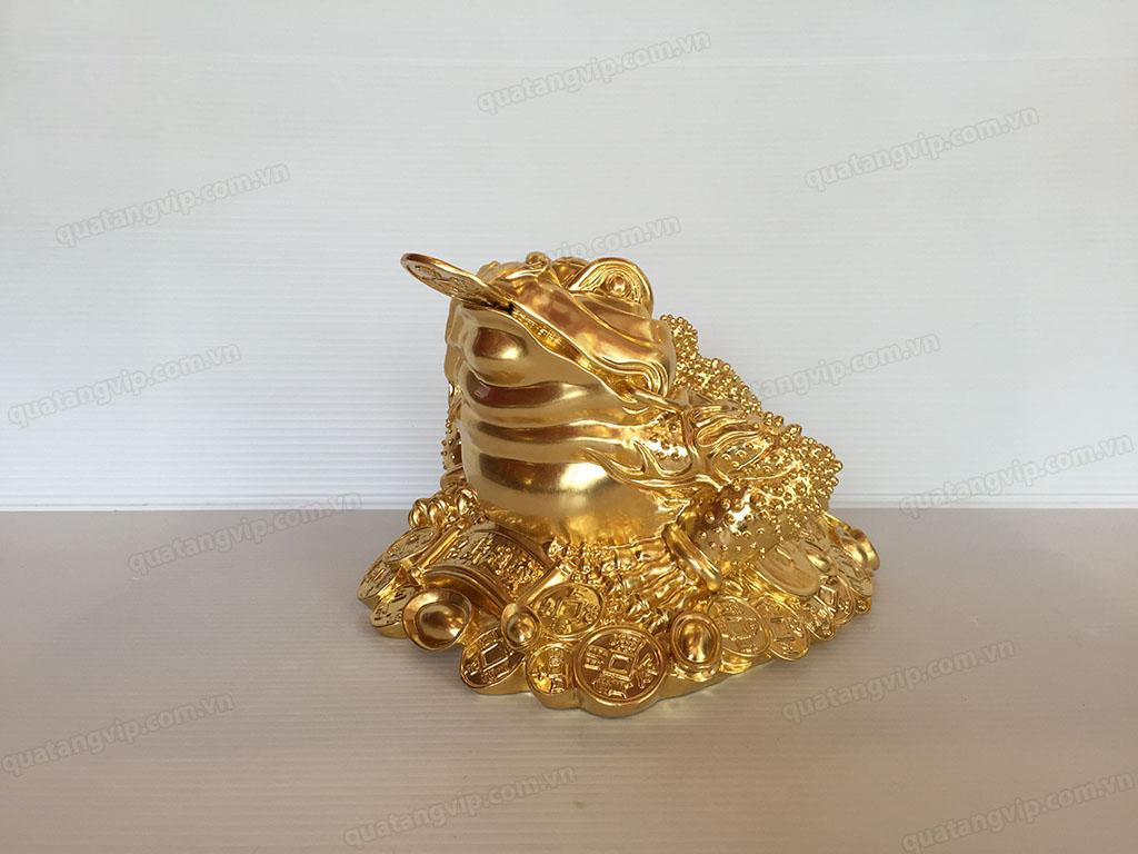 Tượng Cóc phong thủy bằng đồng dát vàng 20cm - Q0693
