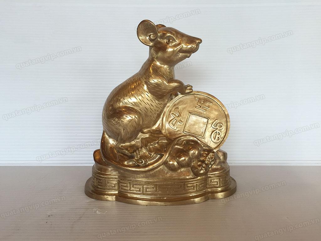 Tượng đồng con Chuột ôm tiền cao 18cm - Q0695