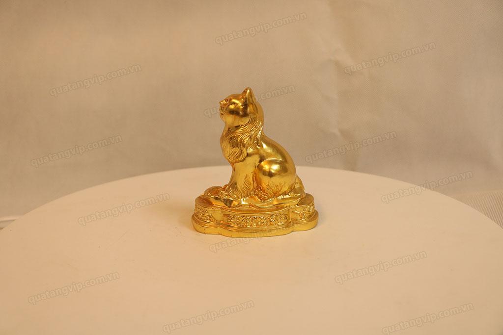 Tượng đồng con Mèo dát vàng cao 10cm - Q0111