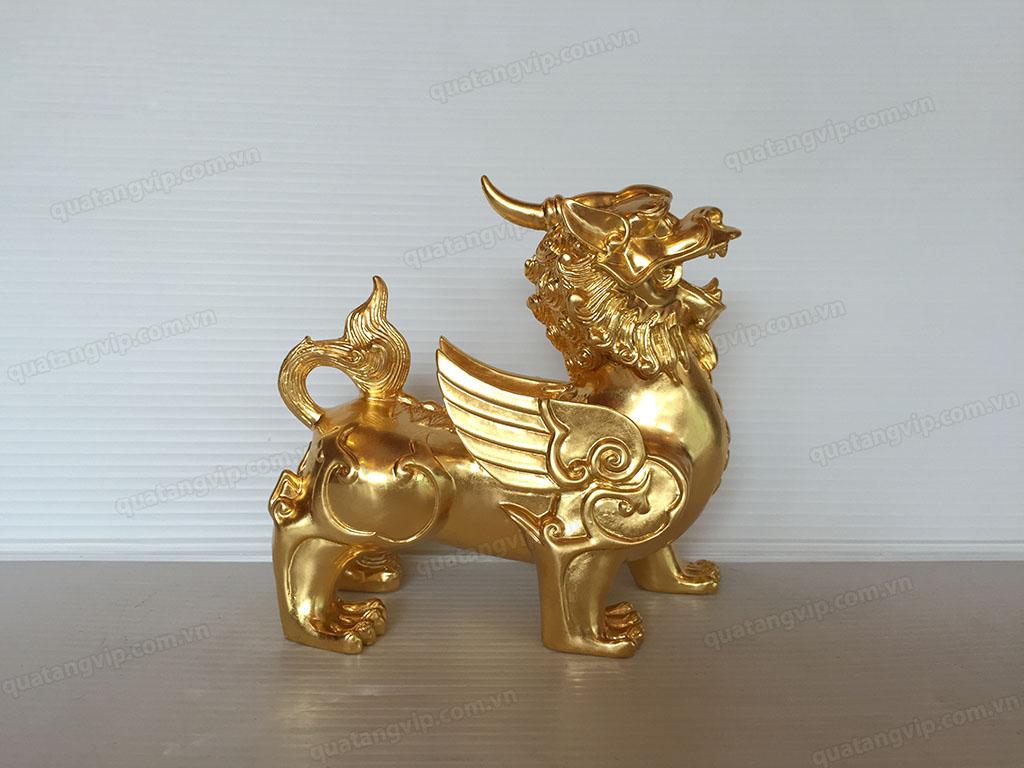 Tỳ hưu đồng thếp vàng 14cm - Q0694